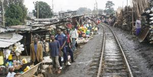 Railway line in Kibera slums