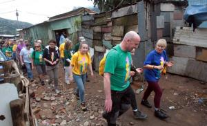 Tourists touring Kibera slums